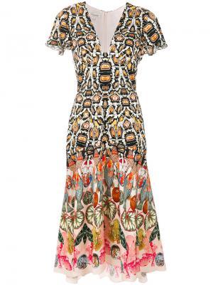 Платье с принтом и глубоким вырезом Temperley London. Цвет: разноцветный