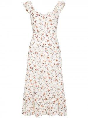 Платье миди Bondi с цветочным принтом Reformation. Цвет: нейтральные цвета