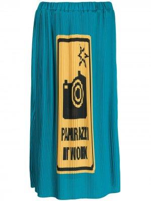 Плиссированная юбка миди Paparazzi Ultràchic. Цвет: синий
