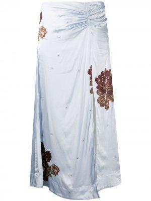 Юбка с цветочным принтом и сборками GANNI. Цвет: синий