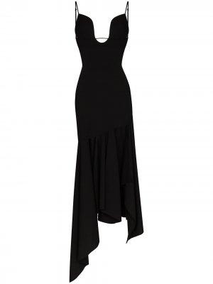 Расклешенное платье с глубоким вырезом Mugler. Цвет: черный