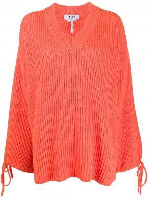 Джемпер с завязками на манжетах MSGM. Цвет: оранжевый
