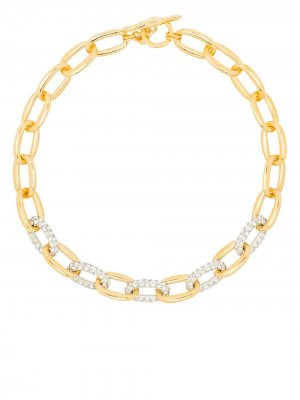 Crystal-embellished chain-link necklace Kenneth Jay Lane. Цвет: золотистый