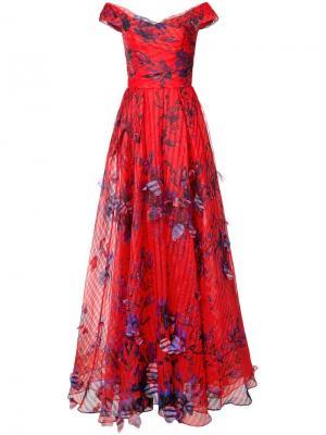 Long floral dress Marchesa Notte. Цвет: красный