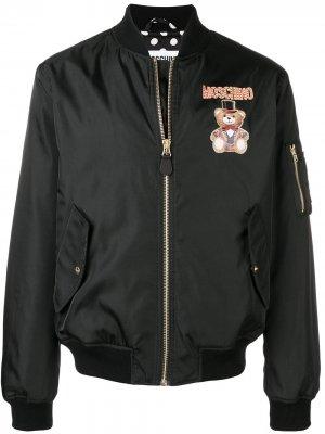 Куртка-бомбер с принтом медведя Moschino. Цвет: черный