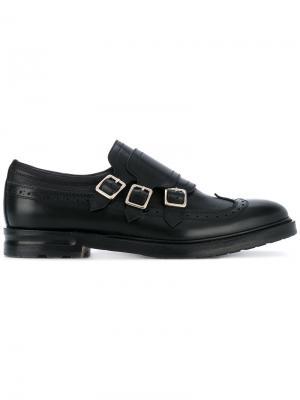 Туфли монки с тремя пряжками Alexander McQueen. Цвет: черный
