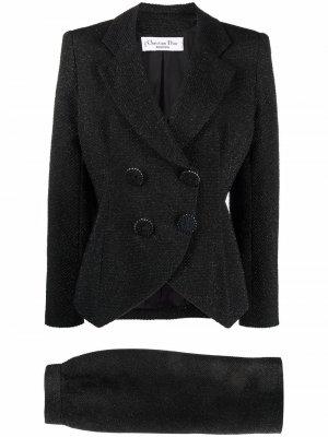 Костюм pre-owned с двубортным пиджаком и юбкой Christian Dior. Цвет: черный