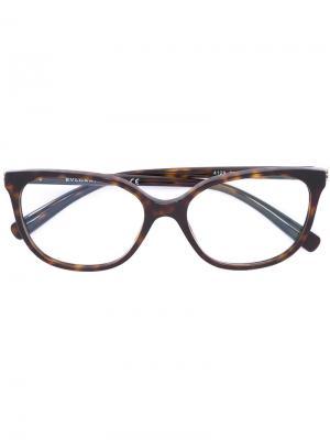 Очки с эффектом черепашьего панциря Bulgari. Цвет: коричневый