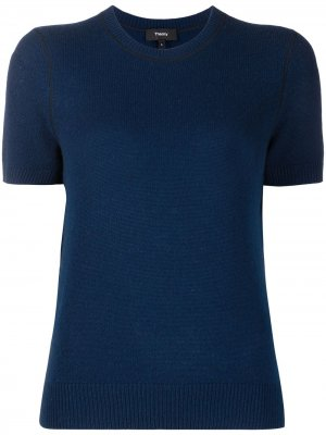Декорированный пуловер с короткими рукавами Theory. Цвет: синий