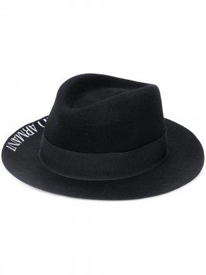 Шляпа-федора с логотипом Emporio Armani. Цвет: черный