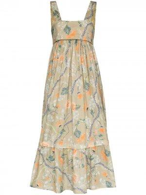 Платье миди с цветочным принтом Chloé. Цвет: коричневый