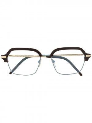 Двухцветные очки в квадратной оправе Marni Eyewear. Цвет: золотистый