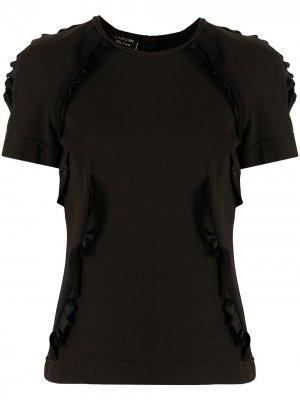 Блузка с короткими рукавами и оборками LANVIN Pre-Owned. Цвет: коричневый