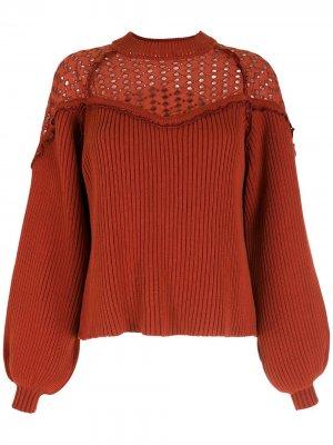 Трикотажная блузка с вырезами Nk. Цвет: коричневый