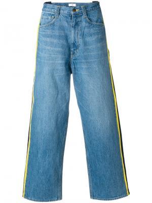 Широкие джинсы с полосками по бокам Facetasm. Цвет: синий