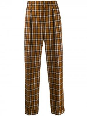 Клетчатые брюки прямого кроя Saint Laurent. Цвет: оранжевый