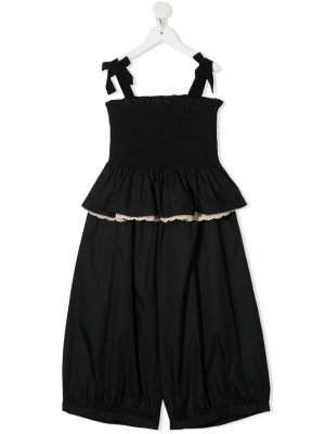 Комплект из топа и брюк с фестонами Mi Sol. Цвет: черный