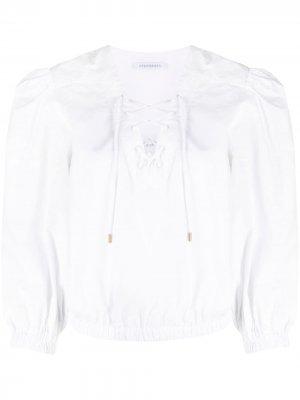 Укороченная блузка с пышными рукавами Alberta Ferretti. Цвет: белый
