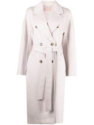 Двубортное пальто с поясом 12 STOREEZ. Цвет: серый