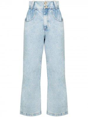 Широкие джинсы с декорированными пуговицами Alessandra Rich. Цвет: синий