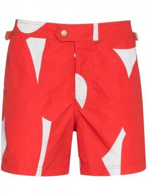Плавки-шорты с графичным принтом Tom Ford. Цвет: красный