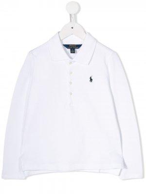 Рубашка-поло с длинными рукавами Ralph Lauren Kids. Цвет: белый