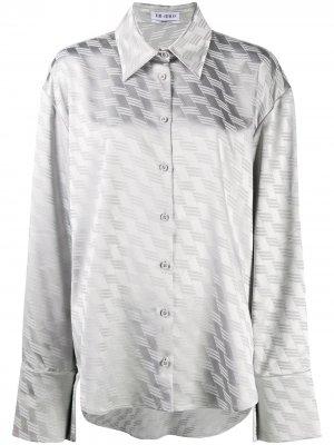 Рубашка с геометричным принтом The Attico. Цвет: серый