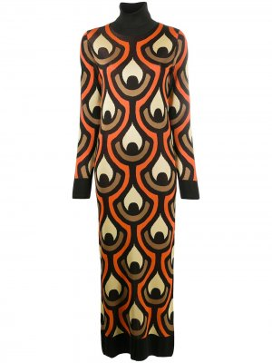 Трикотажное платье с абстрактным принтом Paco Rabanne. Цвет: черный