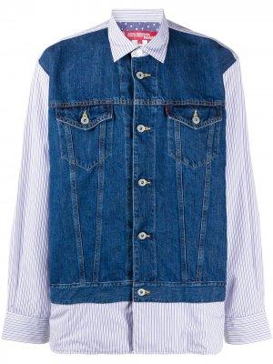 Junya Watanabe Man X Levis рубашка с джинсовой вставкой Levi's. Цвет: синий