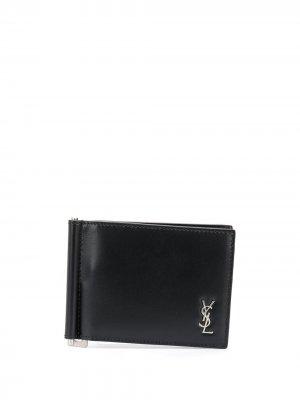 Кошелек с зажимом и металлическим логотипом Saint Laurent. Цвет: черный