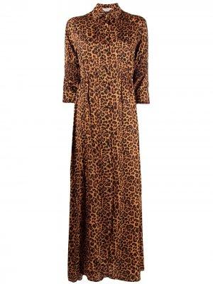 Платье-рубашка макси с леопардовым принтом Laneus. Цвет: оранжевый