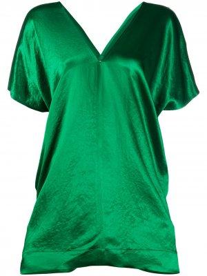 Атласная блузка оверсайз Plan C. Цвет: зеленый