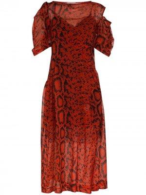 Платье миди Franny с принтом Preen By Thornton Bregazzi. Цвет: красный