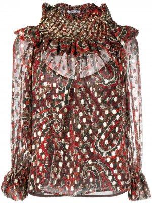 Блузка с принтом пейсли P.A.R.O.S.H.. Цвет: коричневый