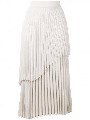 Ярусная юбка макси со складками Beaufille. Цвет: серый