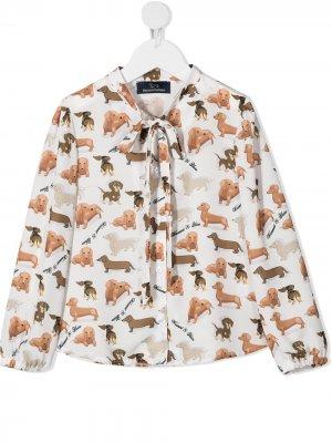 Блузка с бантом и узором в горох Harmont & Blaine Junior. Цвет: белый