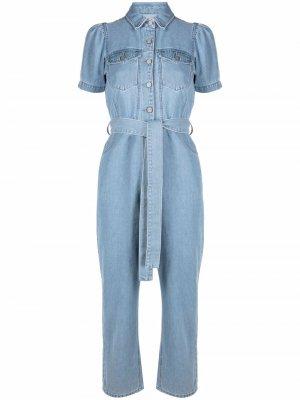 Джинсовый комбинезон с завязками Boyish Jeans. Цвет: синий