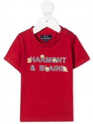Футболка с круглым вырезом и логотипом Harmont & Blaine Junior. Цвет: красный