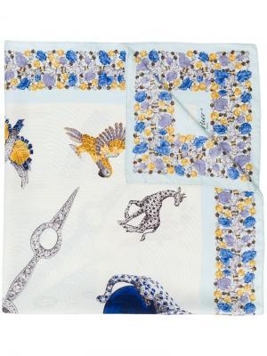 Шарф с цветочным принтом и стразами Cartier Vintage. Цвет: разноцветный