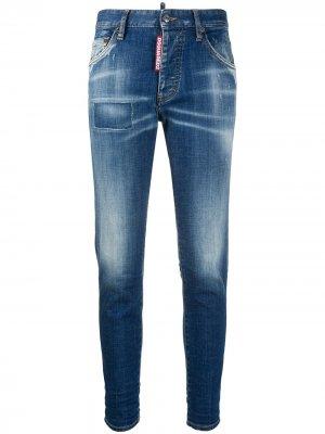 Укороченные джинсы скинни с эффектом потертости Dsquared2. Цвет: синий