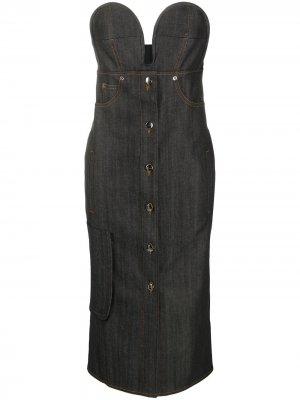 Джинсовое платье без бретелей Marco De Vincenzo. Цвет: черный
