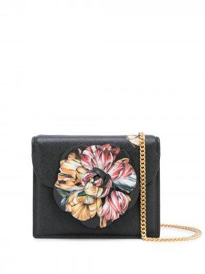 Мини-сумка Tro с цветочной аппликацией Oscar de la Renta. Цвет: черный
