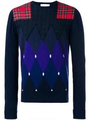 Argyle pattern and patchwork sweatshirt Ballantyne. Цвет: синий