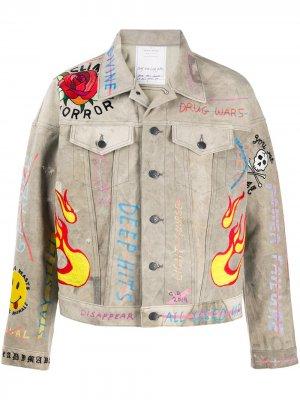 Джинсовая куртка с вышивкой Readymade. Цвет: нейтральные цвета