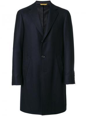 Однобортное пальто Canali. Цвет: синий