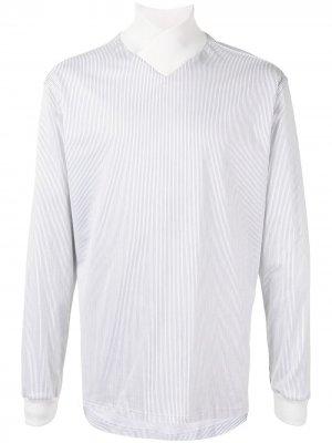 Полосатая рубашка с трикотажным воротником Giorgio Armani. Цвет: белый