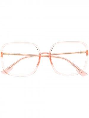 Очки в прозрачной квадратной оправе Dior Eyewear. Цвет: розовый