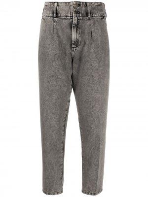 Укороченные зауженные брюки Current/Elliott. Цвет: серый