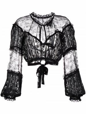 Прозрачная блузка с вышивкой For Love And Lemons. Цвет: черный