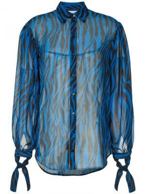 Полупрозрачная блузка со звериным принтом Robert Rodriguez. Цвет: синий